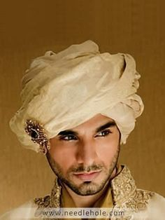 Traditional Groom Turban, Silk Jamawar Fabric, Pre-Tied, Off-White Indian Man, Indian Groom, Wedding Groom, Wedding Men, Gorgeous Men, Beautiful People, Dead Gorgeous, Namaste, Wedding Sherwani