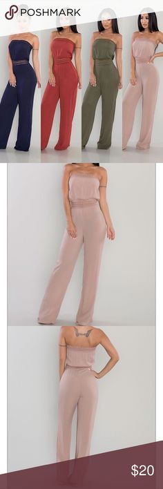 NWOT Strapless Woven Jumpsuit Gorgeous strapless mocha colored jumpsuit, purchased online from Posh Shop LA, tried on at home but never wore out! It's a stunning number that can be dressed up or down! Posh Shop LA Pants Jumpsuits & Rompers