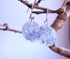 Forget-me-not eco resin dangle earrings with real by ZazieWorld
