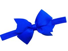 Blue elastic headband with matching bow  by BrownEyedBowtique, $7.00