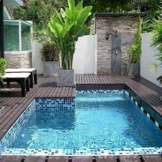 Modern Pool Designs for Small Yards The Swimming Pool: Yesterday Today and Tomorrow Modern Pool Designs for Small Yards. Ever since the very first swimming pool was built people have been coming up… Building A Swimming Pool, Small Swimming Pools, Swimming Pools Backyard, Swimming Pool Designs, Garden Pool, Lap Pools, Indoor Pools, Kiddie Pool, Pool Decks