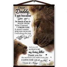 Lion canvas poster dear daddy i am because you are so much of me laways be my loving father love you with all my heart love your daughter Love You Dad, I Love You Forever, My Love, Great Gifts For Dad, Perfect Gift For Dad, Dad Gifts, Canvas Wall Decor, Canvas Frame, Wall Art