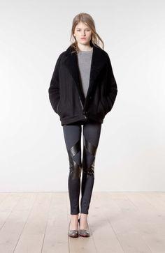 ATHE - Vanessa Bruno Fall Winter 2013-2014 black coat, black wool and leather pants, heels  #minimalist #fashion