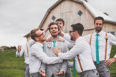 Ashley Taylor's Rustic Farm Wedding Part One, Lawrence, KS Wedding Photographers » Gracenote Photography peach, teal, turquoise, salmon, photos, wedding, farm, barn, rustic, groomsmen, groom, suspenders, outdoor, wedding party, ideas, posing, inspiration, ties, grey pants, funny