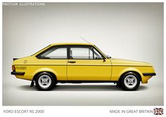 Firstcar Illustrations | Personalized Car Illustrations | Ford Escort RS 2000 1979