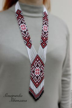 Ethnic woven beaded necklace Gerdan with national Ukrainian pattern in traditional Ukrainian colors, seed bead pendant, Beaded Necklace Patterns, Fabric Necklace, Beaded Bracelets, Bead Loom Patterns, Beading Patterns, Art Patterns, Beads And Wire, Loom Beading, Bead Weaving