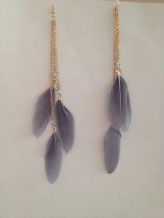 ON SALEGrey Feather Earrings  Long Feather Earrings  by MaxiJoy, $9.00