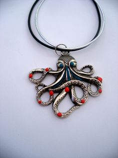 octopus jewellery, silver octopus pendant, with turquoise + coral, black and silver cord, approx 2 inch x 2 inch, metal ,clay, leather by LiloLilsEmporium on Etsy