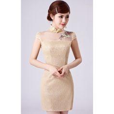 Sexy Gold Lace Illusion Neck Modern Bodycon Chinese Cheongsam Dress