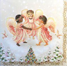 4 Single Vintage Table Paper Party  Lunch Napkins  Decoupage Decopatch Angels 3