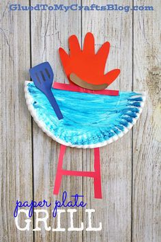 Paper Plate Grill w/Handprint Flame – Kid Craft Idea For Summer - Craft World Daycare Crafts, Toddler Crafts, Preschool Crafts, Kids Crafts, Preschool Themes, Daycare Ideas, Summer Crafts For Kids, Diy For Kids, Paper Plate Crafts