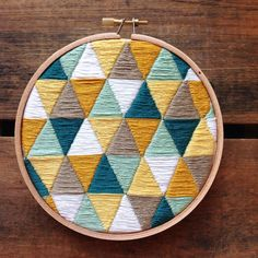 Geometric Triangles Embroidery Hoop by itsonlyyou on Etsy https://www.etsy.com/listing/224193595/geometric-triangles-embroidery-hoop