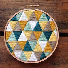 Geometric Triangles Embroidery Hoop by itsonlyyou on Etsy https://www.etsy.com/listing/224193595/geometric-triangles-embroidery-hoop