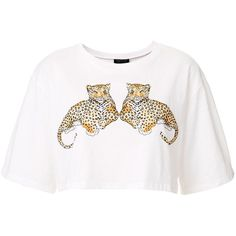 TOPSHOP Mirror Cheetah Crop Top ($28) ❤ liked on Polyvore