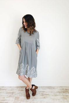 Olive Grey Embroidered Dress | ROOLEE