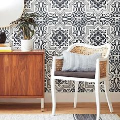 Easy DIY Wall Art Decor Mural Project Idea - cheaper than designer wallpaper - Lisboa Tile Wall Stencil by Royal Design Studio Stencils - painted by Sarah Gunn Style featured in Canadian Living Magazine - photography Angus Fergusson