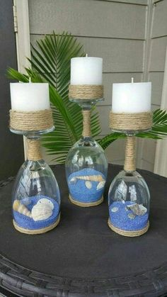 Seashell and Sand Wine Glass Candle Holders (Set of Seashell and sand glass of wine candle holder Wine Glass Crafts, Wine Bottle Crafts, Bottle Art, Wine Bottles, Glass Bottle, Baby Bottles, Seashell Crafts, Beach Crafts, Diy Crafts