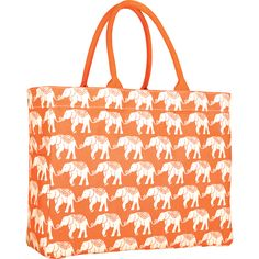 Orange Elephant Canvas Carry All Tote Bag — MUSEUM OUTLETS