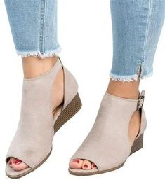 abe78774a195 Ankle Strap Peep Toe Wedge Sandals · Womens Summer ShoesSummer ...