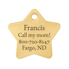 Personalized Laser Engraved Brass Star Dog ID Tag - Includes Matching S-Hook and Split Ring *** Check out the image by visiting the link. (This is an affiliate link and I receive a commission for the sales)