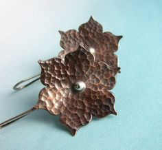 Mixed Metal Earrings, Lotus Flower Earrings, Hammered Silver And Copper Earrings, Copper Jewelry, Metalsmith Jewelry, Contemporary Jewelry