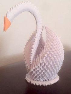 Cisne de Origami 3D por Chads3DOrigami en Etsy