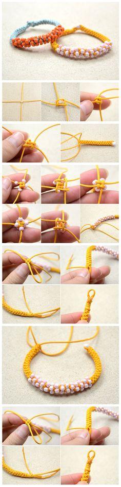 Tutorial on Making a Bracelet with a… – armband knüpfen Netted Bracelet, Diy Beaded Bracelets, Diy Jewelry Necklace, Hemp Jewelry, Handmade Jewelry Bracelets, Bracelet Crafts, Bijoux Diy, Jewelry Crafts, Jewelery