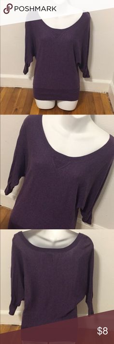 American Eagle Purple Sweater Women's Purple 3/4 sleeve American Eagle Outfitters sweater. Worn only once, so it's in perfect condition. Hangs off the shoulders slightly. Super comfy and cute. Size small. I SHIP SAME DAY AS PURCHASE ON ALL MY ITEMS. American Eagle Outfitters Sweaters