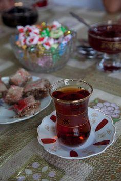 Tea, halvah, and rose jelly in Azerbaijan.