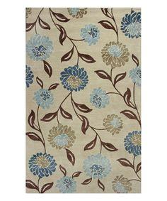 Beige & Blue Springtime Wool Rug #zulily #zulilyfinds
