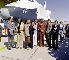"""After a flood of letters from Star Trek fans, NASA named its first Space Shuttle Orbiter """"Enterprise"""". On September 17, 1976, Enterprise made its' media debut at the Rockwell's plant in Palmdale, California, as the Air Force band fired up the Star Trek theme music. The show's cast was naturally invited, although somehow William Shatner missed it."""