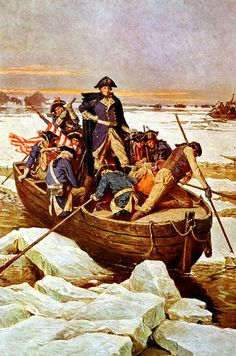 This vintage American History print features General George Washington crossing the Delaware River during The Revolutionary War.
