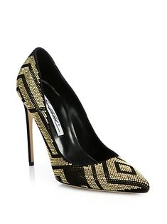 Brian Atwood Black and Gold Shoes