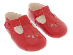 Soft pre-walker first pram shoes for babies, red patent with teardrops and ovals.