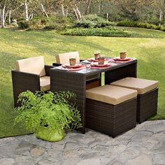 Patio furniture on pinterest patio conversation sets for Outdoor dining sets for small spaces