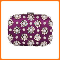 Damara Women's Medium Hardcase Evening Bag Sunflower Pattern Adorn Clutch,Purple - Evening bags (*Amazon Partner-Link)
