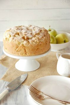 Irish Apple Cake with Custard Sauce.