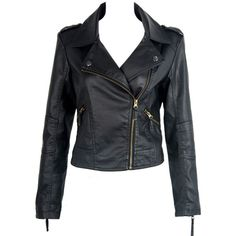 Choies Black Leather Jacket ($57) ❤ liked on Polyvore featuring outerwear, jackets, leather jackets, coats, tops, black, genuine leather jackets, real leather jackets and 100 leather jacket