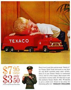 Plan59 :: Retro Vintage 1950s Christmas Ads and Holiday Art :: Buddy-L Texaco Truck, 1959