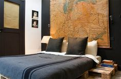 Bedroom Decor Ideas for Men: modern, wood bed frame, vintage, map art, simple, clean.