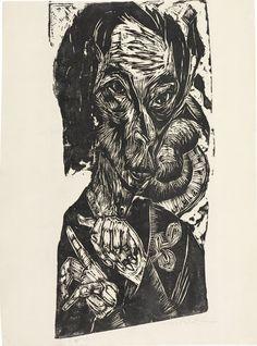 Ernst Ludwig Kirchner - Kopf des Kranken - Woodcut - 1917-18