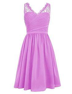 HUINI Damen Brautjungfernkleider Kurz Chiffon V-Ausschnitt mit Spitzen  Ballkleider Abendkleider Partykleider Cocktailkleider Blush 36 bc46e1c716