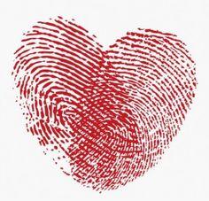 een hartje van vingerafdrukken