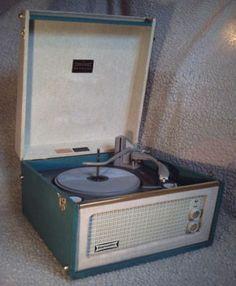 1960s Dansette Bermuda record player in original turquoise