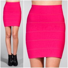 "BCBGMaxazria Hot Pink Bandage Skirt BCBG Maxazria Hot Pink Bandage Skirt! Really flattering and beautiful color.  -Stretchy material. -Size M. -Length: 20"" -In excellent condition!   No Trades. Please make all offers through offer button. BCBGMaxAzria Skirts"
