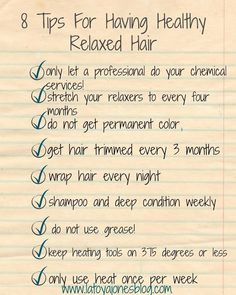 8 tips for having healthy relaxed hair (checklist) (www.latoyajonesbl…) 8 tips for having healthy relaxed hair (checklist) (www. Pelo Natural, Natural Hair Tips, Natural Hair Styles, Natural To Relaxed Hair, Au Natural, Healthy Relaxed Hair, Healthy Hair Tips, Permed Hairstyles, Cool Hairstyles