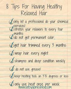 8 tips for having healthy relaxed hair (checklist) (www.latoyajonesblog.com)