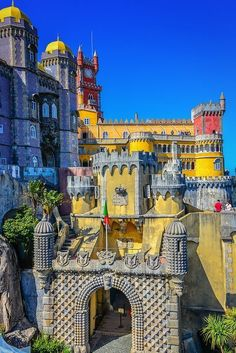 Main Gate of the Palácio Nacional da Pena - Sintra, Portugal. Pena Palace is just one of the many palaces and castles in Sintra, a popular day trip from Lisbon. Visit Portugal, Spain And Portugal, Portugal Travel, Places Around The World, Travel Around The World, Around The Worlds, Algarve, Places To Travel, Places To See