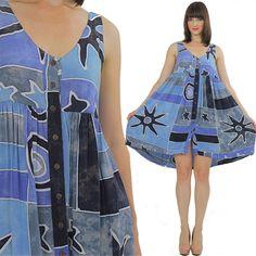 Boho Mini Dress Hippie Dress Tribal Dress by SHABBYBABEVINTAGE, $48.00