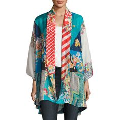 Johnny Was Mixed-Print Habutai Kimono Jacket ($270) ❤ liked on Polyvore featuring outerwear, jackets, multi, print jacket, long sleeve kimono, kimono jacket, johnny was jacket and open front jacket